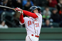 Right fielder Bo Greenwell (31) of the Greenville Drive bats in a game against the Charleston RiverDogs on Wednesday, April 16, 2014, at Fluor Field at the West End in Greenville, South Carolina. Charleston won, 8-7. (Tom Priddy/Four Seam Images)