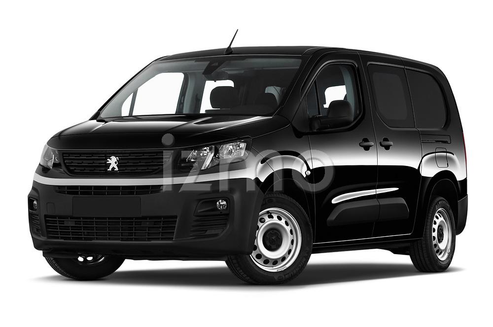 Stock pictures of low aggressive front three quarter view of a 2020 Peugeot Partner Premium Long 4 Door Car van