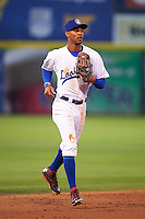 Chattanooga Lookouts outfielder Byron Buxton (7) jogs into the dugout  during a game against the Jacksonville Suns on April 30, 2015 at AT&T Field in Chattanooga, Tennessee.  Jacksonville defeated Chattanooga 6-4.  (Mike Janes/Four Seam Images)