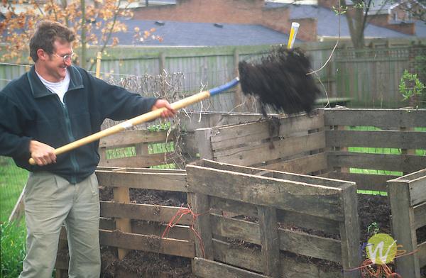 Turning compost, Lexington, KY. Tolston Wild.
