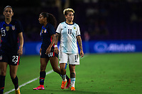 ORLANDO CITY, FL - FEBRUARY 24: Yamila Rodriguez #11 of the AFA waits for the ball during a game between Argentina and USWNT at Exploria Stadium on February 24, 2021 in Orlando City, Florida.