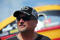 Mar. 30, 2012; Las Vegas, NV, USA: NHRA funny car driver Jeff Arend during qualifying for the Summitracing.com Nationals at The Strip in Las Vegas. Mandatory Credit: Mark J. Rebilas-