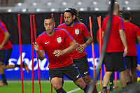 Glendale, AZ - Friday June 24, 2016: Bobby Wood, Jermaine Jones of the United States during a training prior to the third place match of the Copa America Centenario at the University of Phoenix Stadium.<br /> Action photo during of the United States team training before the game against the selection of Colombia for third place in the America Cup Centenary 2016 at University of Phoenix Stadium<br /> <br /> Foto de accion durante el Entrenamiento de la Seleccion de Estados Unidos previo al partido contra la Seleccion de Colombia por el tercer lugar de la Copa America Centenario 2016, en el Estadio de la Universidad de Phoenix, en la foto: (i-d) Bobby Wood y Jermaine Jones de USA<br /> <br /> <br /> 24/06/2016/MEXSPORT/Victor Posadas.
