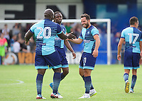Sam Wood of Wycombe Wanderers (11) is congratulated by Adebayo Akinfenwa of Wycombe Wanderers  after he hits the ball into the top corner of the goal to make it 1-4 during the Friendly match between Maidenhead United and Wycombe Wanderers at York Road, Maidenhead, England on 30 July 2016. Photo by Alan  Stanford PRiME Media Images.