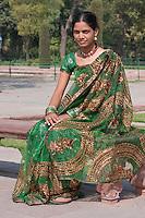 Agra, India.  Indian Woman from Maharashtra State Visiting the Taj Mahal.