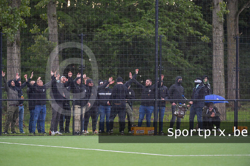 supporters pictured during a female soccer game between Sporting Charleroi and Eendracht Aalst on the 8th matchday in play off 2 of the 2020 - 2021 season of Belgian Scooore Womens Super League , tuesday 18 th of May 2021 in Marcinelle , Belgium . PHOTO SPORTPIX.BE | SPP | STIJN AUDOOREN