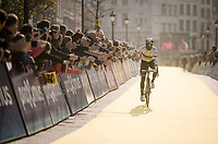 World Champion Alejandro Valverde (ESP/Movistar) is warmly cheered on at his debut participation in De Ronde<br /> <br /> 103rd Ronde van Vlaanderen 2019<br /> One day race from Antwerp to Oudenaarde (BEL/270km)<br /> <br /> ©kramon