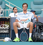 March 27, 2019: Daniil Medvedev (RUS) is defeated by Roger Federer (SUI) 4-6, 2-6, at the Miami Open being played at Hard Rock Stadium in Miami, Florida. ©Karla Kinne/Tennisclix 2010/CSM