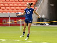 HOUSTON, TX - JUNE 9: Kelley O'Hara #5 of the USWNT celebrates during a training session at BBVA Stadium on June 9, 2021 in Houston, Texas.