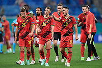 ST PETERSBURG, RUSSIA - JUNE 12 : Eden Hazard midfielder of Belgium, Thorgan Hazard midfielder of Belgium are greeting the supporters after the victory pictured during the 16th UEFA Euro 2020 Championship Group B match between Belgium and Russia on June 12, 2021 in St Petersburg, Russia, 12/06/2021 <br /> Photo Photonews / Panoramic / Insidefoto <br /> ITALY ONLY