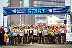 © Joel Goodman - 07973 332324 . 15/10/2017 . Manchester , UK . Athletes at the start line , taking part in the Greater Manchester Half Marathon in Old Trafford . Photo credit : Joel Goodman