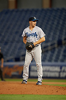 Tampa Tarpons relief pitcher Kyle Zurak (25) during a Florida State League game against the Clearwater Threshers on April 18, 2019 at Spectrum Field in Clearwater, Florida.  Clearwater defeated Tampa 10-3.  (Mike Janes/Four Seam Images)