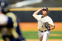 Wake Forest Demon Deacons relief pitcher Nate Jones #42 in action against the Georgia Tech Yellow Jackets at Wake Forest Baseball Park on April 15, 2012 in Winston-Salem, North Carolina.  The Demon Deacons defeated the Yellow Jackets 11-3.  (Brian Westerholt/Four Seam Images)