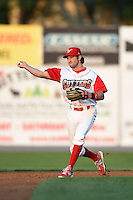 Williamsport Crosscutters second baseman Derek Campbell (9) throws the ball around during a game against the Aberdeen IronBirds on August 4, 2014 at Bowman Field in Williamsport, Pennsylvania.  Aberdeen defeated Williamsport 6-3.  (Mike Janes/Four Seam Images)