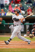 Jackson Generals designated hitter Jordy Lara (3) at bat during a game against the Montgomery Biscuits on April 29, 2015 at Riverwalk Stadium in Montgomery, Alabama.  Jackson defeated Montgomery 4-3.  (Mike Janes/Four Seam Images)
