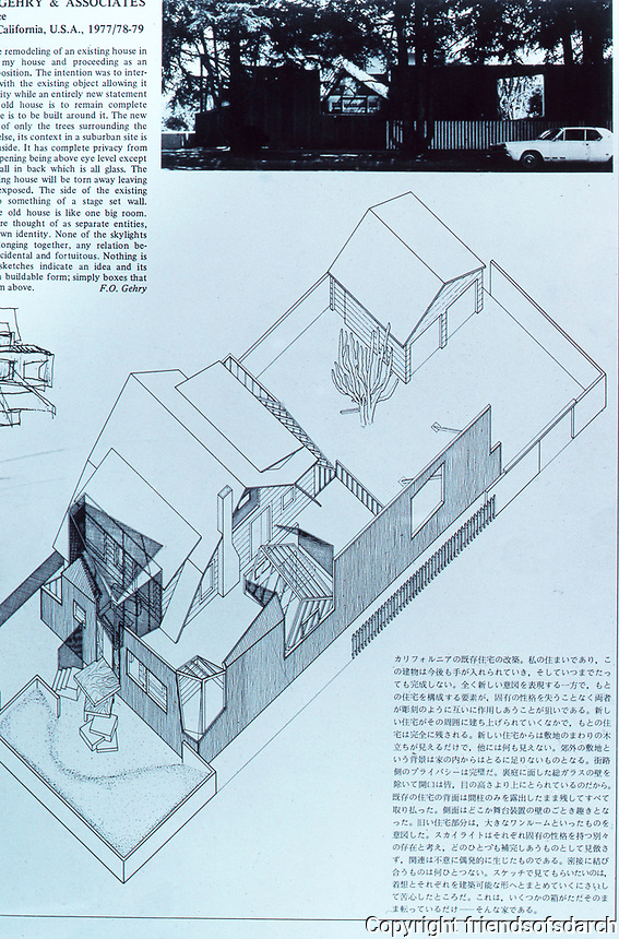 Frank Gehry:  Gehry's own house. Plan and short article. 1977 remodel in Deconstructivist style, Santa Monica, CA.  Photo Dec. 1987.