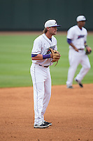 Winston-Salem Dash third baseman Trey Michalczewski (8) on defense against the Myrtle Beach Pelicans at BB&T Ballpark on April 18, 2015 in Winston-Salem, North Carolina.  The Pelicans defeated the Dash 4-1 in game one of a double-header.  (Brian Westerholt/Four Seam Images)