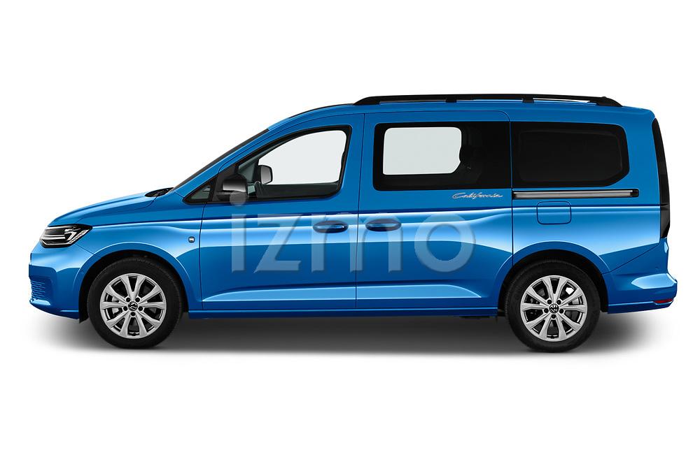 Car Driver side profile view of a 2021 Volkswagen Caddy California-Maxi 5 Door Camper Van Side View