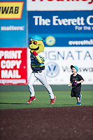 Everett AquaSox mascot Webbly races a fan between innings of a Northwest League game against the Tri-City Dust Devils at Everett Memorial Stadium on September 3, 2018 in Everett, Washington. The Everett AquaSox defeated the Tri-City Dust Devils by a score of 8-3. (Zachary Lucy/Four Seam Images)
