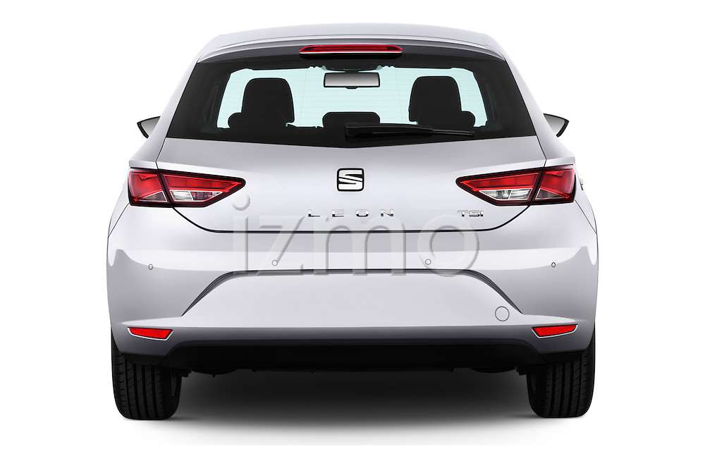 Straight rear view of 2015 Seat Leon Style 5 Door Hatchback Rear View  stock images