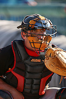 August 24 2008: Michael McKenry of the Modesto Nuts before game against the Lancaster JetHawks at Clear Channel Stadium in Lancaster,CA.  Photo by Larry Goren/Four Seam Images