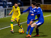 5th April 2021; Palmerston Park, Dumfries, Scotland; Scottish Cup Third Round, Queen of the South versus Hibernian; Martin Boyle of Hibernian takes on Niyah Joseph and James Maxwell of QOTS along the wing