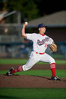 Auburn Doubledays pitcher Bobby Milacki (27) during a NY-Penn League game against the West Virginia Black Bears on August 23, 2019 at Falcon Park in Auburn, New York.  West Virginia defeated Auburn 8-1, the first game of a doubleheader.  (Mike Janes/Four Seam Images)