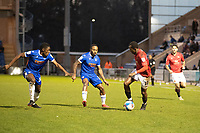 Carlos Mendes Gomes is well marshalled by the Colchester defence during Colchester United vs Morecambe, Sky Bet EFL League 2 Football at the JobServe Community Stadium on 19th December 2020