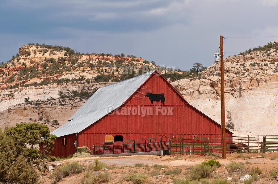 Red barn, clouds, dirt road, Boulder Creek Ranch, Utah
