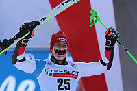 20th December 2020; Alta Badia, South-Tyrol, Italy; International Ski Federation World Cup Alpine Skiing, Giant Slalom;  Justin Murisier (SUI) shows his delight after his run