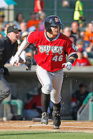 Carolina Mudcats outfielder Dustin Peterson (46) at bat during a game against the Myrtle Beach Pelicans at Ticketreturn.com Field at Pelicans Ballpark on June 7, 2015 in Myrtle Beach, South Carolina. Myrtle Beach defeated Carolina 4-1. (Robert Gurganus/Four Seam Images)