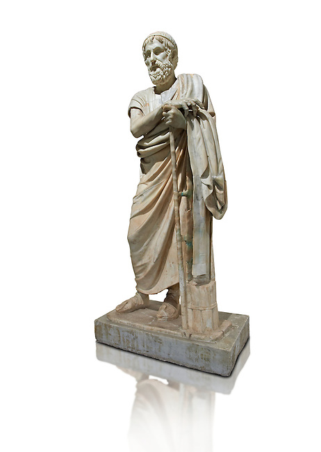 Roman marble sculpture of Homer from the rectangular peristyle of the Villa of the Papyri in Herculaneum, Naples Museum of Archaeology, Italy