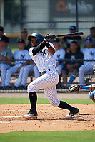 GCL Yankees East right fielder Jesus Severino (33) flies out during a game against the GCL Blue Jays on August 2, 2018 at Yankee Complex in Tampa, Florida.  GCL Yankees East defeated GCL Blue Jays 5-4.  (Mike Janes/Four Seam Images)