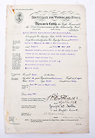 BNPS.co.uk (01202 558833)<br /> Pic: C&T/BNPS<br /> <br /> 'Certificate of wounds and hurts' - Speight's accident report after a crash whilst he was based as an RNAS Observer in Cornwall.<br /> <br /> Never before seen photos of the disastrous Gallipoli campaign have come to light over a century later.<br /> <br /> The fascinating snaps were taken by Sub Lieutenant Gilbert Speight who served in the Royal Naval Air Service in World War One.<br /> <br /> They feature in his photo album which covers his eventful war, including a later stint in Egypt.<br /> <br /> There are dramatic photos of the Allies landing at X Beach, as well as sobering images of a mass funeral following the death of 17 Brits. Another harrowing image shows bodies lined up in a mass grave.<br /> <br /> The album, which also shows troops during rare moments of relaxation away from the heat of battle, has emerged for sale with C & T Auctions, of Ashford, Kent. It is expected to fetch £1,500.