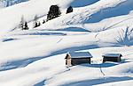 Italy, Alto Adige, South Tyrol, above Selva di Val Gardena: snowed in hay huts   Italien, Suedtirol, Groednertal, oberhalb Wolkenstein: eingeschneite Heuhuetten