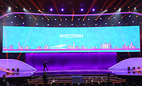 EM Spielort Amsterdam auf der Videowand - 30.11.2019: UEFA EURO2020 Auslosung, Romexpo Bukarest, DISCLAIMER: UEFA regulations prohibit any use of photographs as image sequences and/or quasi-video.