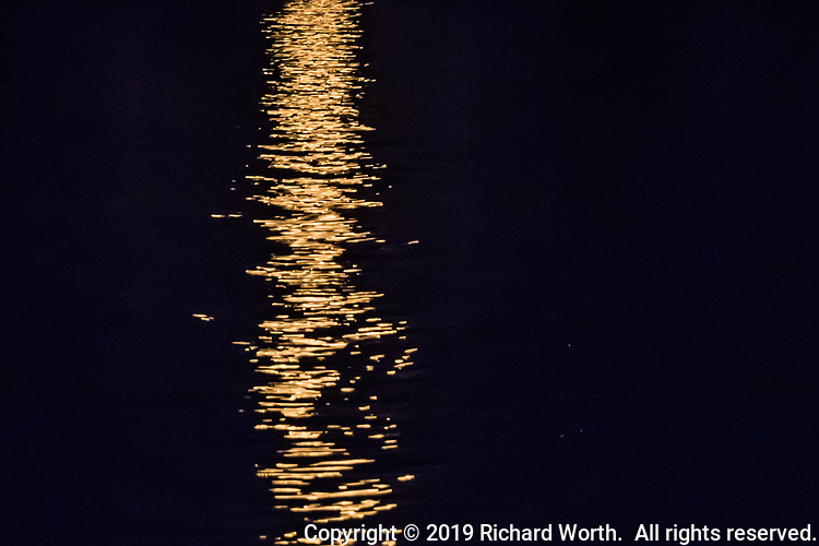 The light of the Full Harvest Moon reflects in the waters of the San Leandro Bay creating a 'moon trail'.