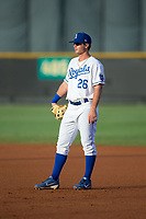 Burlington Royals first baseman Reed Rohlman (26) on defense against the Danville Braves at Burlington Athletic Stadium on August 15, 2017 in Burlington, North Carolina.  The Royals defeated the Braves 6-2.  (Brian Westerholt/Four Seam Images)