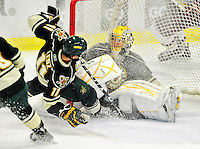 12 November 2010: University of Vermont Catamount goaltender Rob Madore, a Junior from Pittsburgh, PA, in action during the third period against the Boston College Eagles at Gutterson Fieldhouse in Burlington, Vermont. The Eagles edged out the Cats 3-2 in the first game of their weekend series. Mandatory Credit: Ed Wolfstein Photo