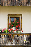 Italy, South Tyrol, Valle di Anterselva, farmhouse, balcony, flowers, window