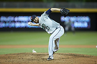 Gwinnett Braves relief pitcher Ben Rowen (22) in action against the Durham Bulls at Durham Bulls Athletic Park on April 20, 2019 in Durham, North Carolina. The Bulls defeated the Braves 3-2 in game two of a double-header. (Brian Westerholt/Four Seam Images)
