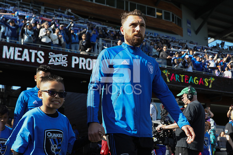 SAN JOSE, CA - FEBRUARY 29: Guram Kashia #37 of the San Jose Earthquakes during a game between Toronto FC and San Jose Earthquakes at Earthquakes Stadium on February 29, 2020 in San Jose, California.