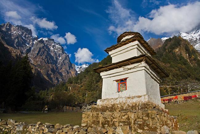 A STUPA at a remote TIBETAN BUDDHIST MONASTERY - NEPAL HIMALALA