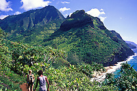 Hikers on the Kalalau trail see Hanakapiai  beach glistening ahead