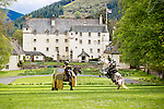 Traquair Medieval Fayre to mark 500th Flodden Anniversary, Scottish Borders, Traquair House, 25th and 26th May...Pic: Jake Martin riding Alfonso (white Horse) and Adam Sherwood riding Noble (dark horse) rehearse for the Jousting display...Malcolm McCurrach   New Wave Images UK - 21/05/2013
