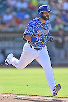 Tennessee Smokies third baseman Tommy La Stella (2) runs to first during a game against the Birmingham Barons on August 2, 2015 in Kodak, Tennessee. The Smokies defeated the Barons 5-2. (Tony Farlow/Four Seam Images)