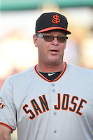 Manager Russ Mormon (45) of the San Jose Giants before a game against the Inland Empire 66ers at San Manuel Stadium on May 30, 2015 in San Bernardino, California. Inland Empire defeated San Jose, 6-4. (Larry Goren/Four Seam Images)