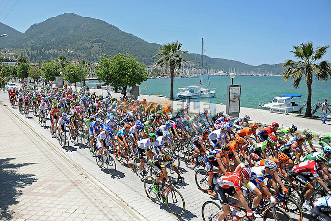 The start of Stage 4 of the 2015 Presidential Tour of Turkey running 132km from Fethiye to Marmaris. 29th April 2015.<br /> Photo: Tour of Turkey/Mario Stiehl/www.newsfile.ie