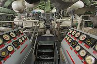 France, Manche (50), Cotentin, Cherbourg, Cité de la Mer, le plus grand sous-marin nucléaire visitable au monde: Le Redoutable - Salle des machines //: France, Manche, Cotentin, Cherbourg, museum Cite de la Mer (city of the sea), old nuclear submarine Le Redoutable