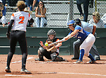 Basic Wolves' Angela Santillanes hits against the Douglas Tigers during the NIAA 4A softball tournament, in Reno, Nev., on Thursday, May 17, 2018. Douglas won 8-5. Cathleen Allison/Las Vegas Review-Journal
